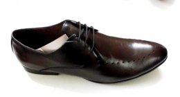 100% Genuine Burnish Leather in PU Sole Lace-up Shoes for Mens